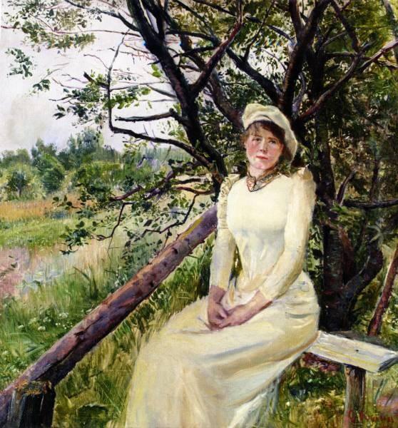 Christian Krohg Ung Kvinne Pa En Benk Young Woman on a Bench